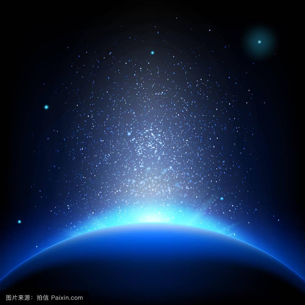 深蓝色配枚红色_地球-深蓝色空间的日出.eps 10