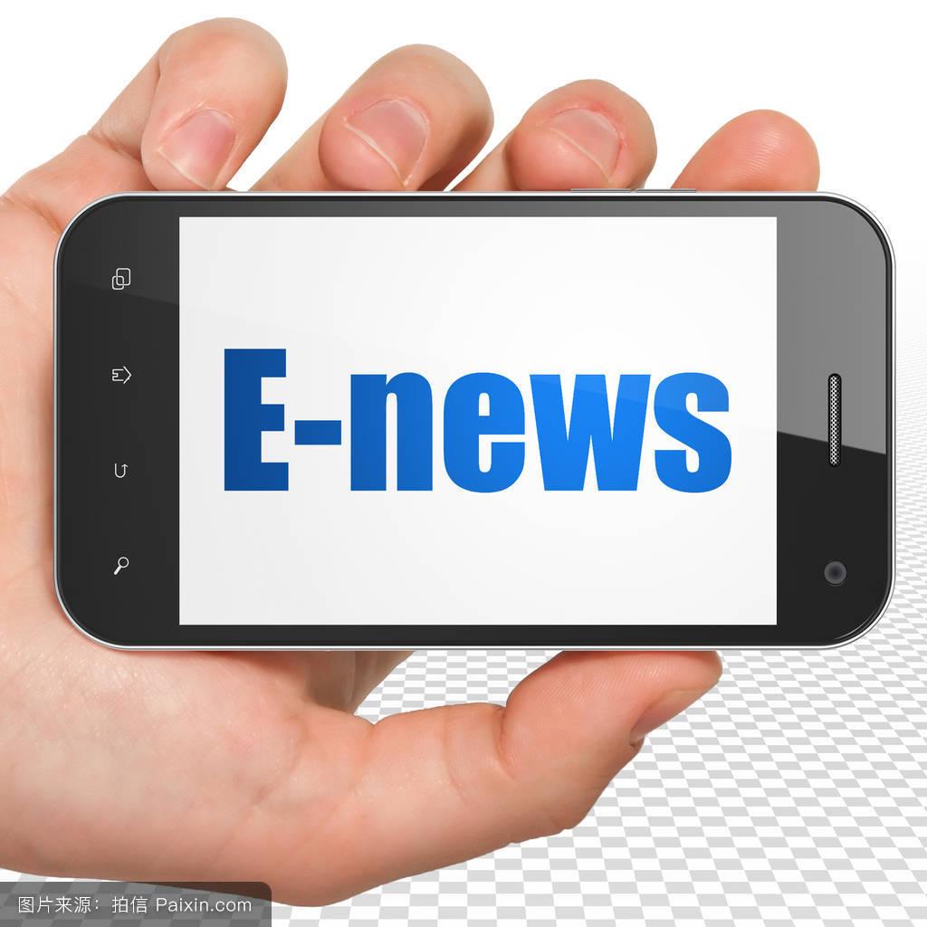 关于手机的最新资讯_新闻观念:手持智能手机上显示电子报