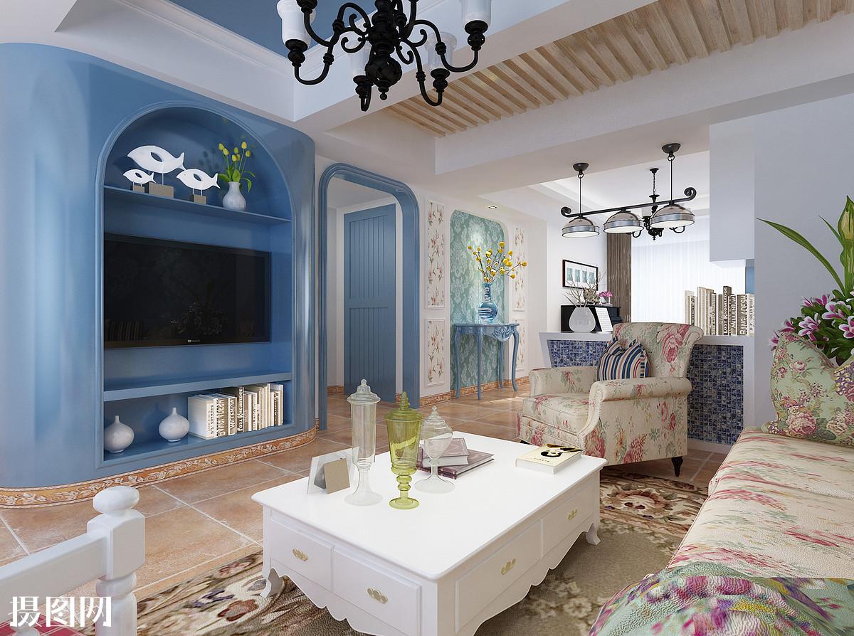 地中海效果图,效果图,蓝色系,家装效果图,3d效果图,地中海,客厅效果图片