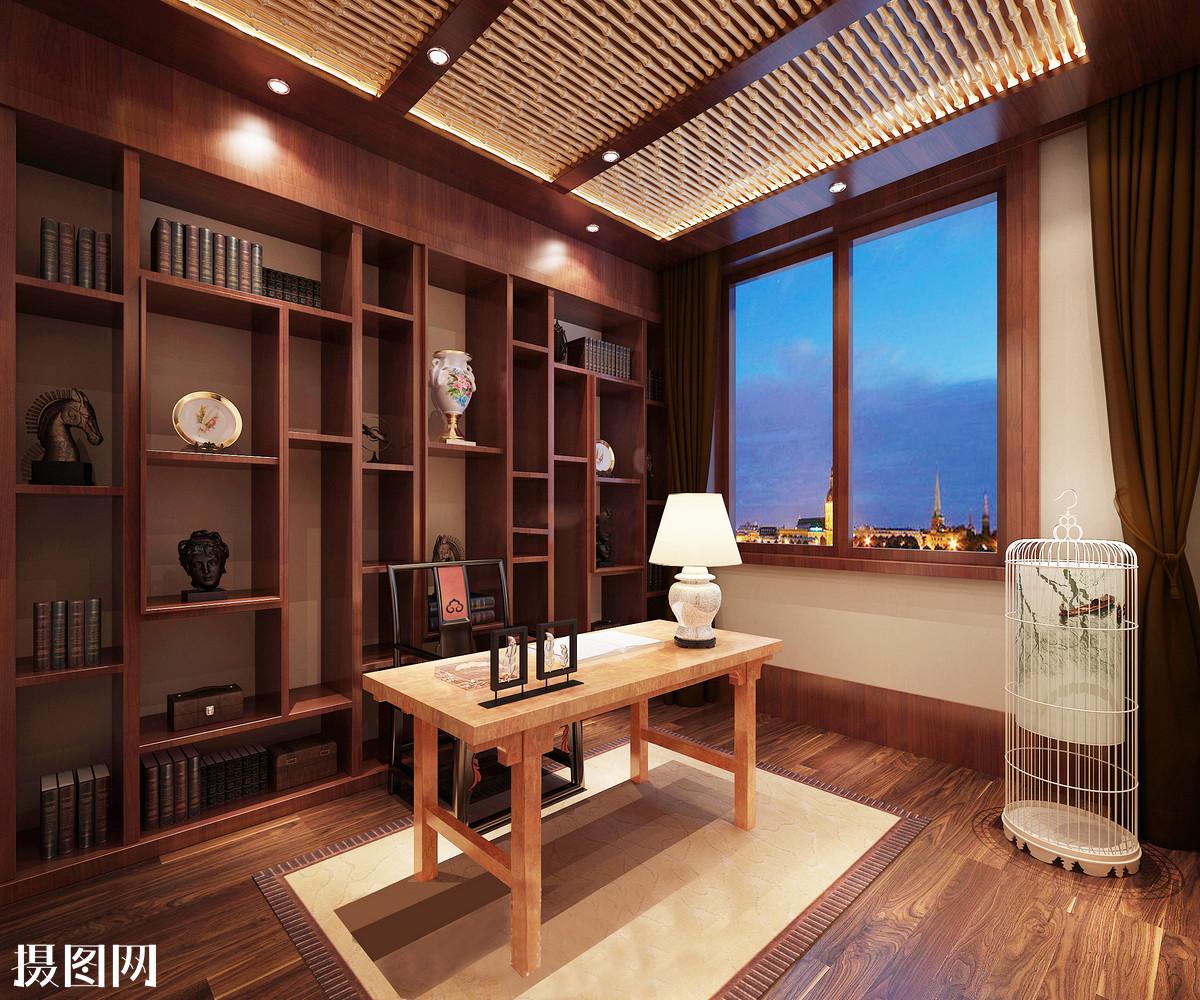 中式书房效果图图片