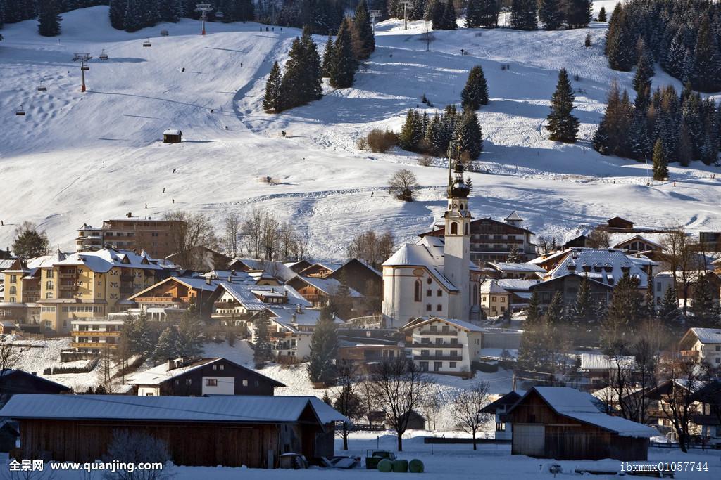 乡村,冬天,竞技场,提洛尔,奥地利,欧洲图片