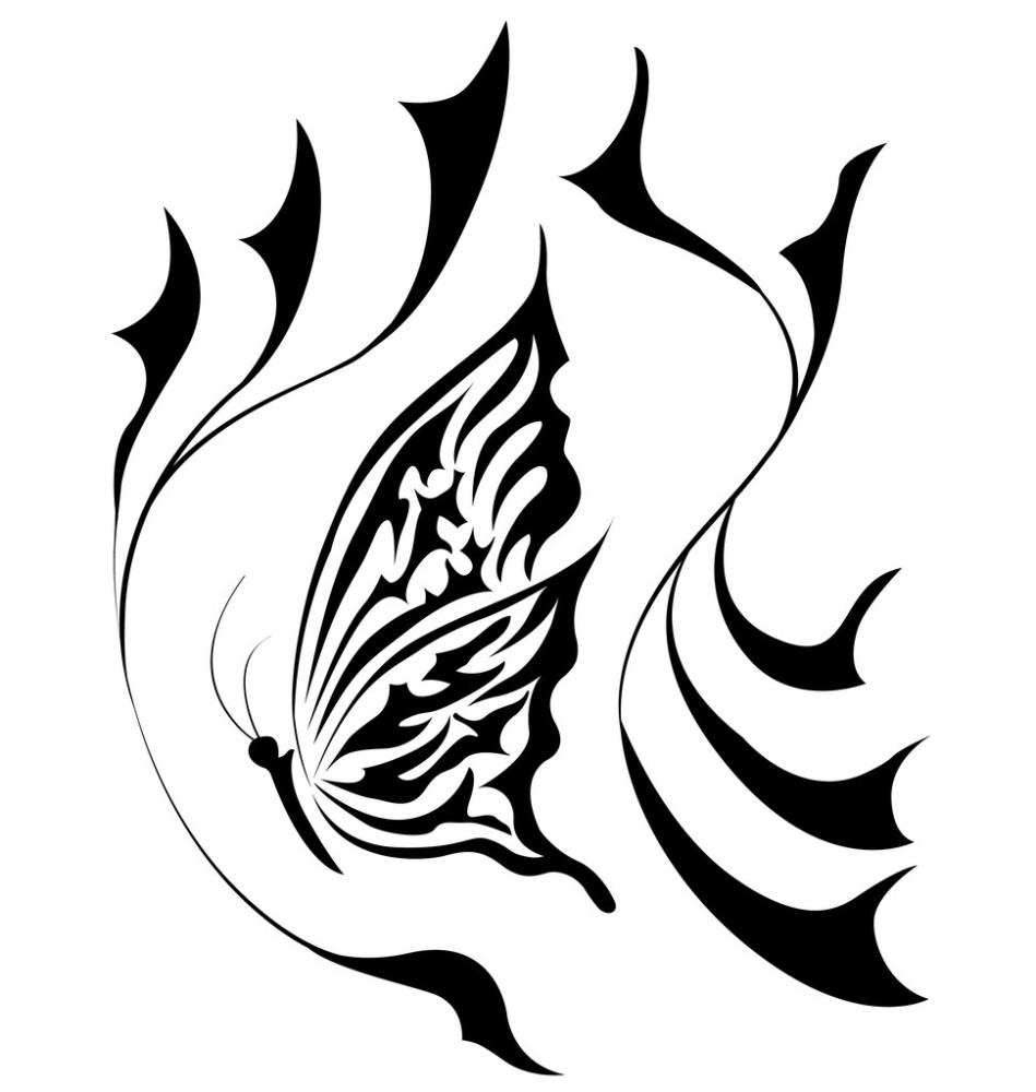 蝴蝶,花,华丽的,绘画,绘画插图,设计,生长,矢量图,式样,图表,纹身图片