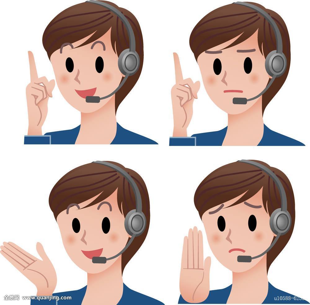 手势,客服代表,呼叫中心,接线员,耳机,女人,表情,食指,指点,停止,信息图片