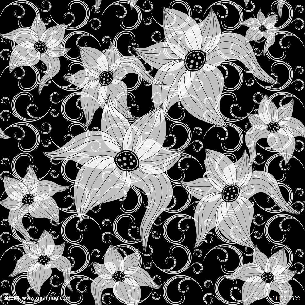 黑色,花,装饰,不努力,电脑制图,图案,重复,复古,无缝,剪影,旧式,壁纸图片