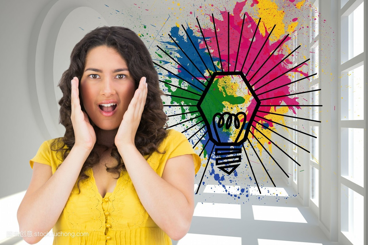 创新,年青人,女人,黄色,惊讶,电脑图形,长发,棕色头发,可爱,人像图片