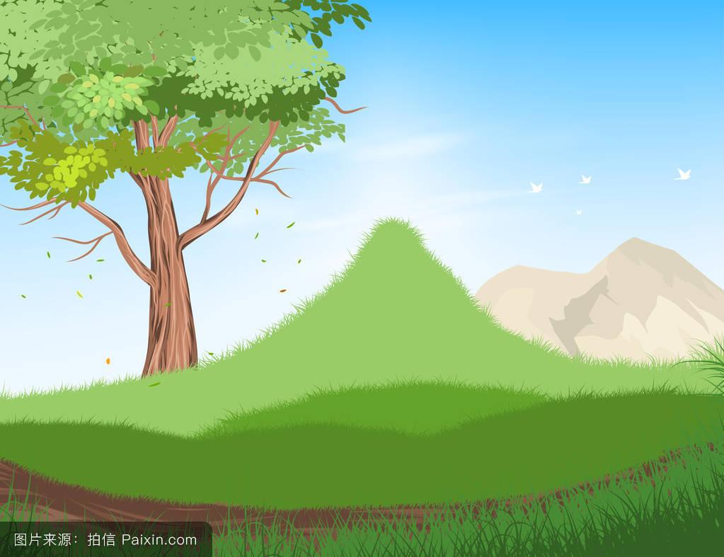 白天,自然,景观,树景观,矢量,草地,小山,云,农村的,夏天,草,森林,背景图片