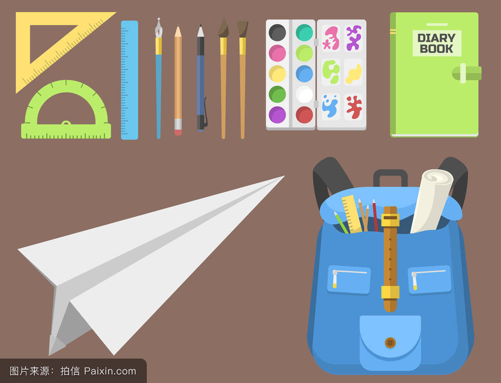 我的文具袋�9�#���_书包背包儿童用品文具拉链文具袋矢量插图.