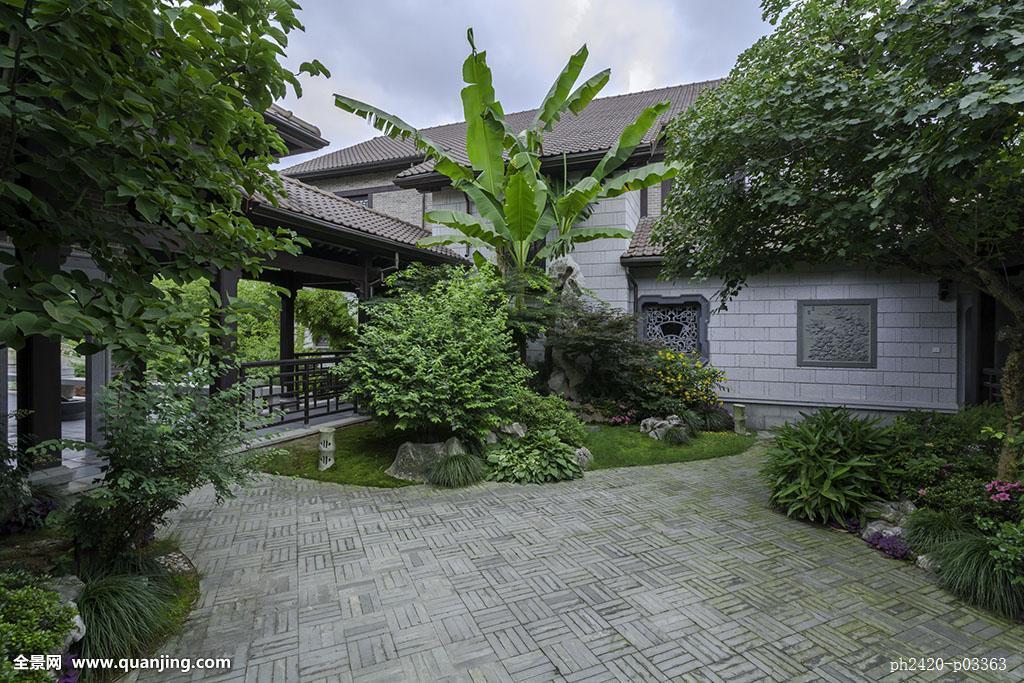 中国元素,中式庭院,苏州园林,中式别墅,中式建筑,豪宅,院子,地面铺装图片