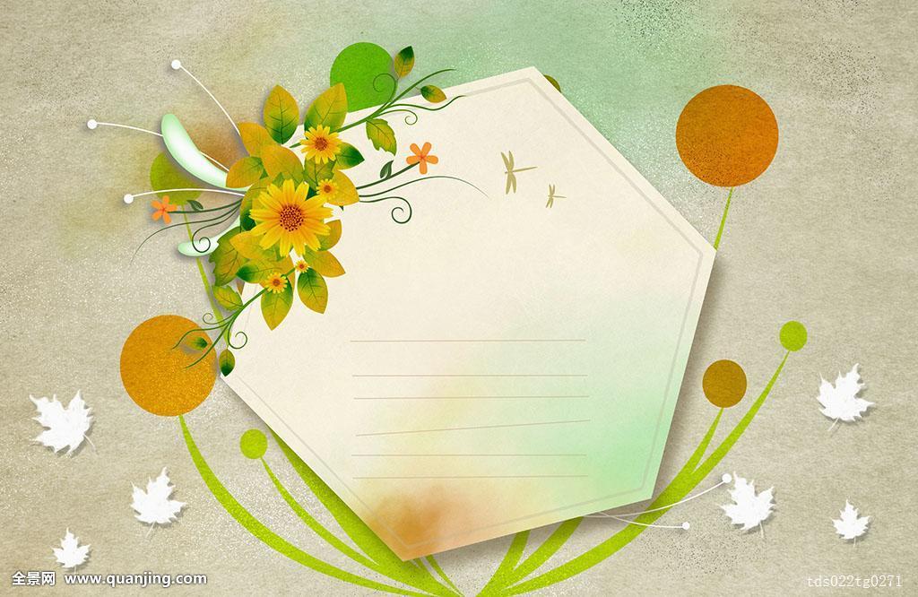 图像,六边形,信纸,黄花,叶子图片