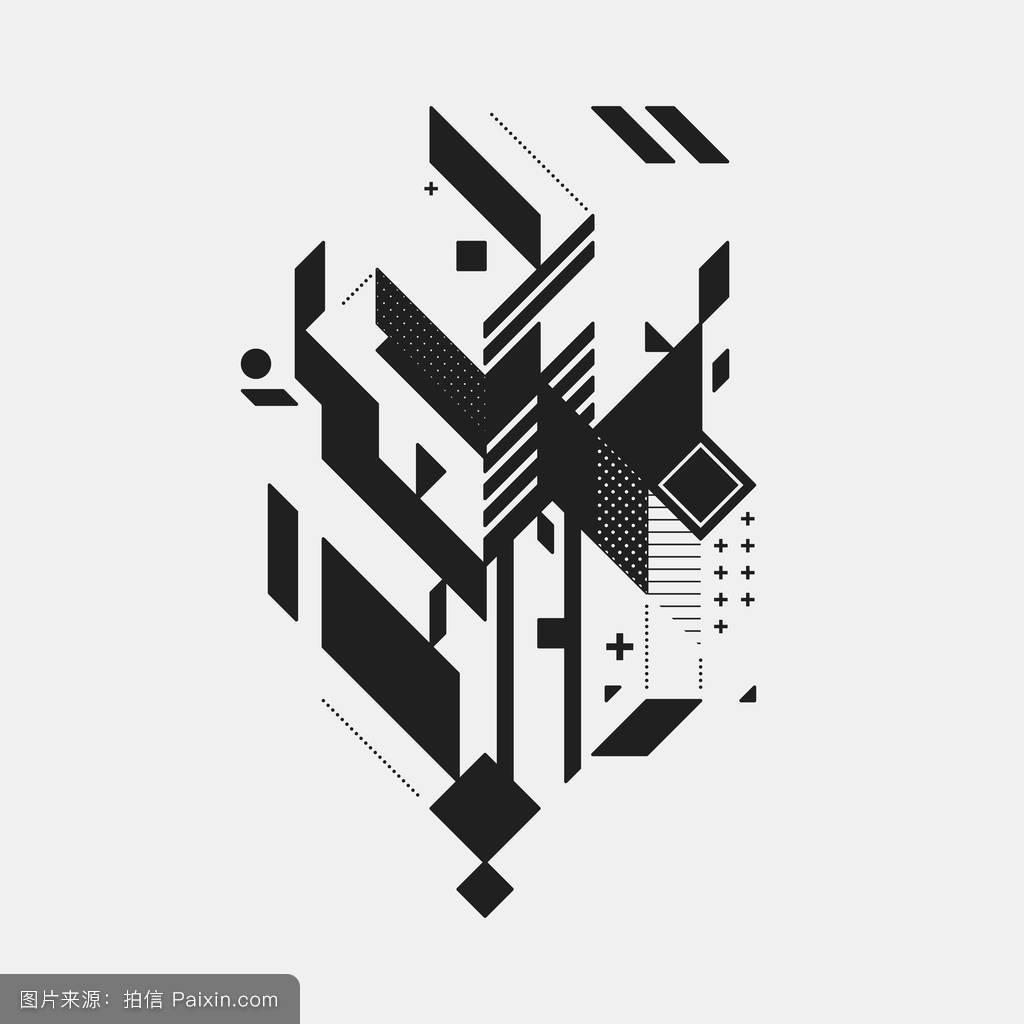 白色背景下的抽象设计元素.几何现代艺术涂鸦风格.图片