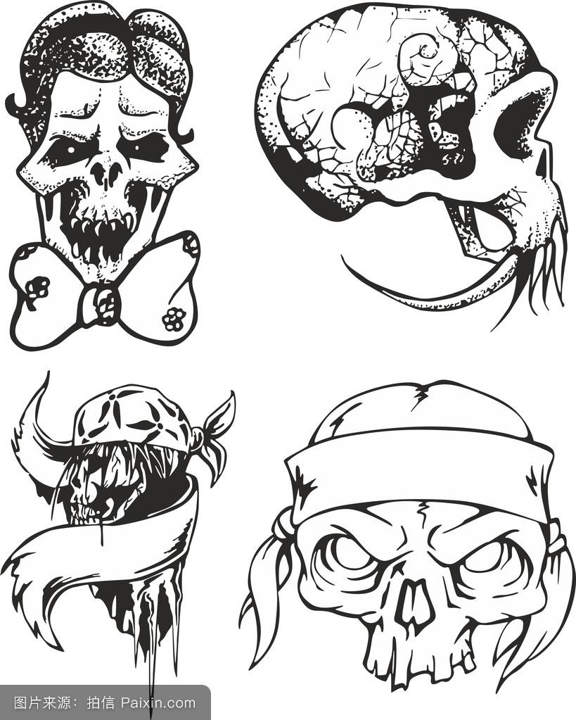 头骨图片纹身部落素描佛山婚纱设计v头骨图片