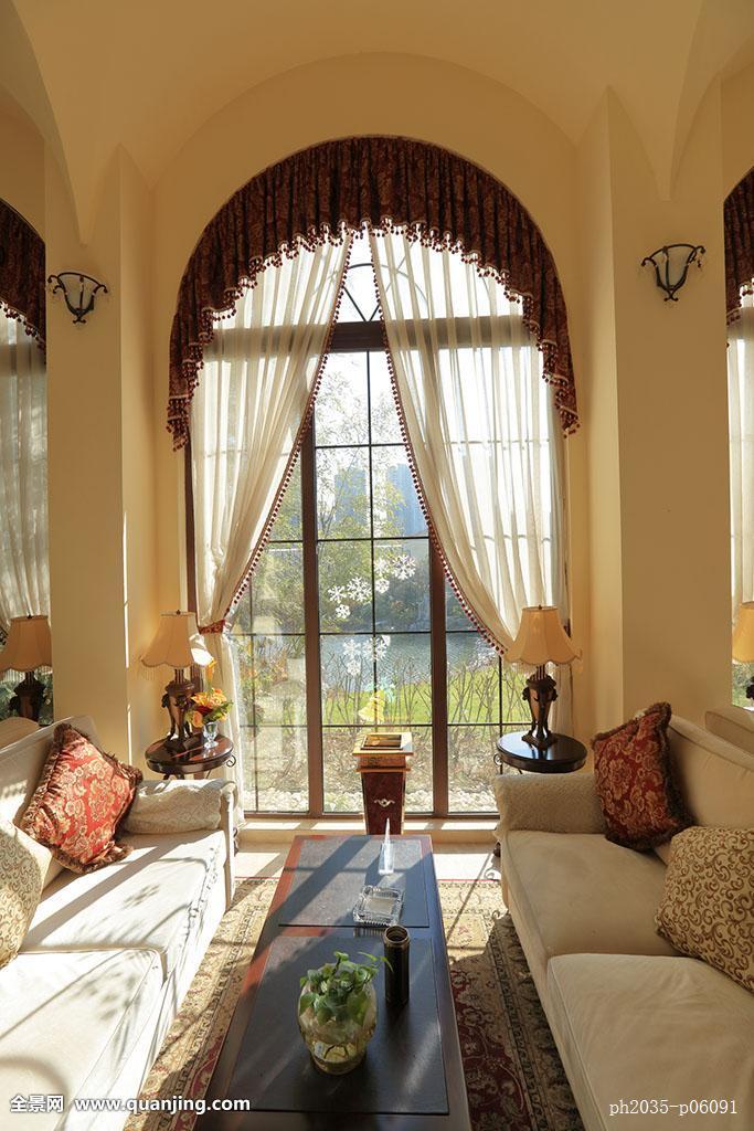 房间,台灯,全画幅,阳光,光线,靠枕,亚洲,户内,摆设,拱形窗,落地窗图片