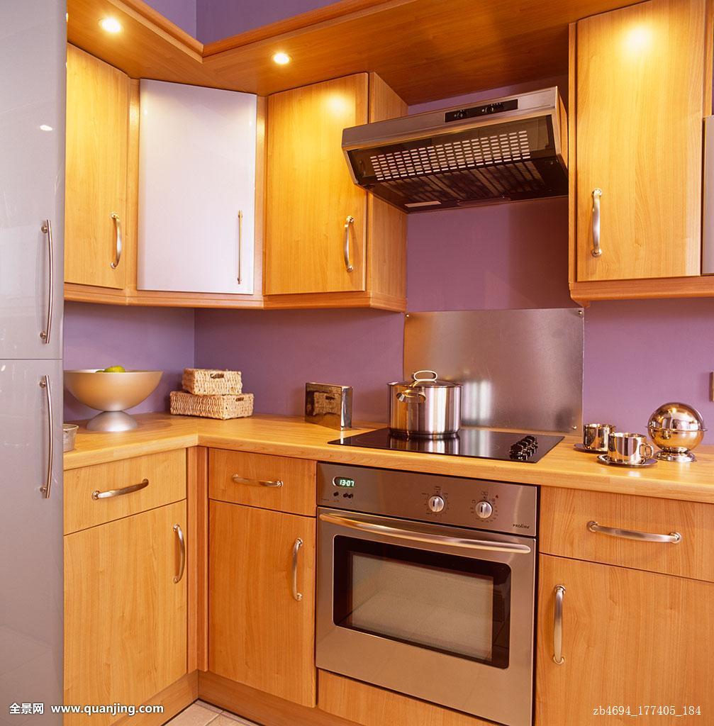 现代,丁香,厨房,木质,不锈钢,一体式烤炉图片