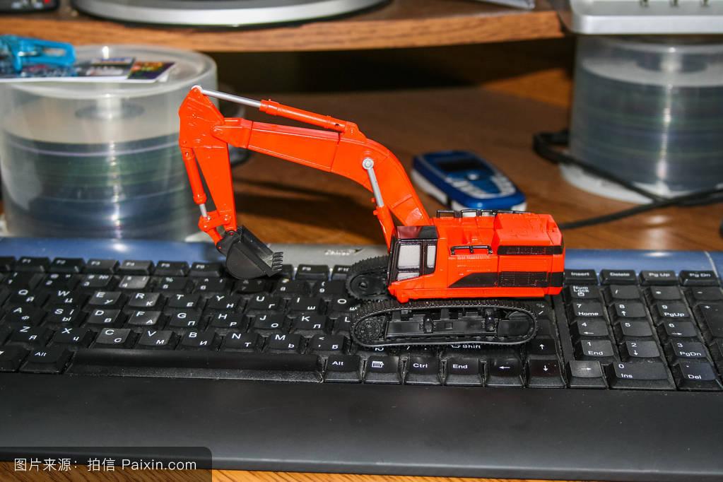 水力的,键盘,履带,液压挖掘机,挖掘机,移动电话,模型图片