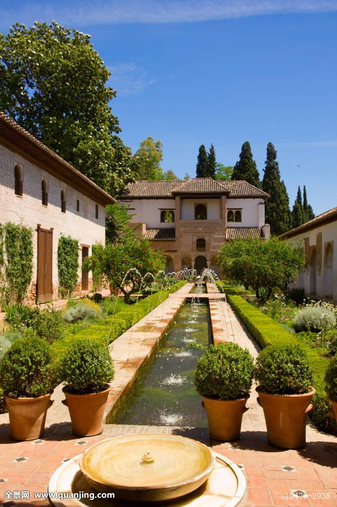 轩尼洛里菲花园,宫殿,格拉纳达,西班牙图片