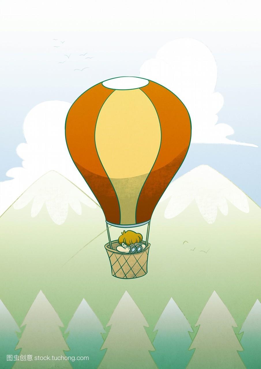 兴奋激动,动物群,热气球,仔细检查,男人,五彩缤纷,想法,男孩,观看,数图片