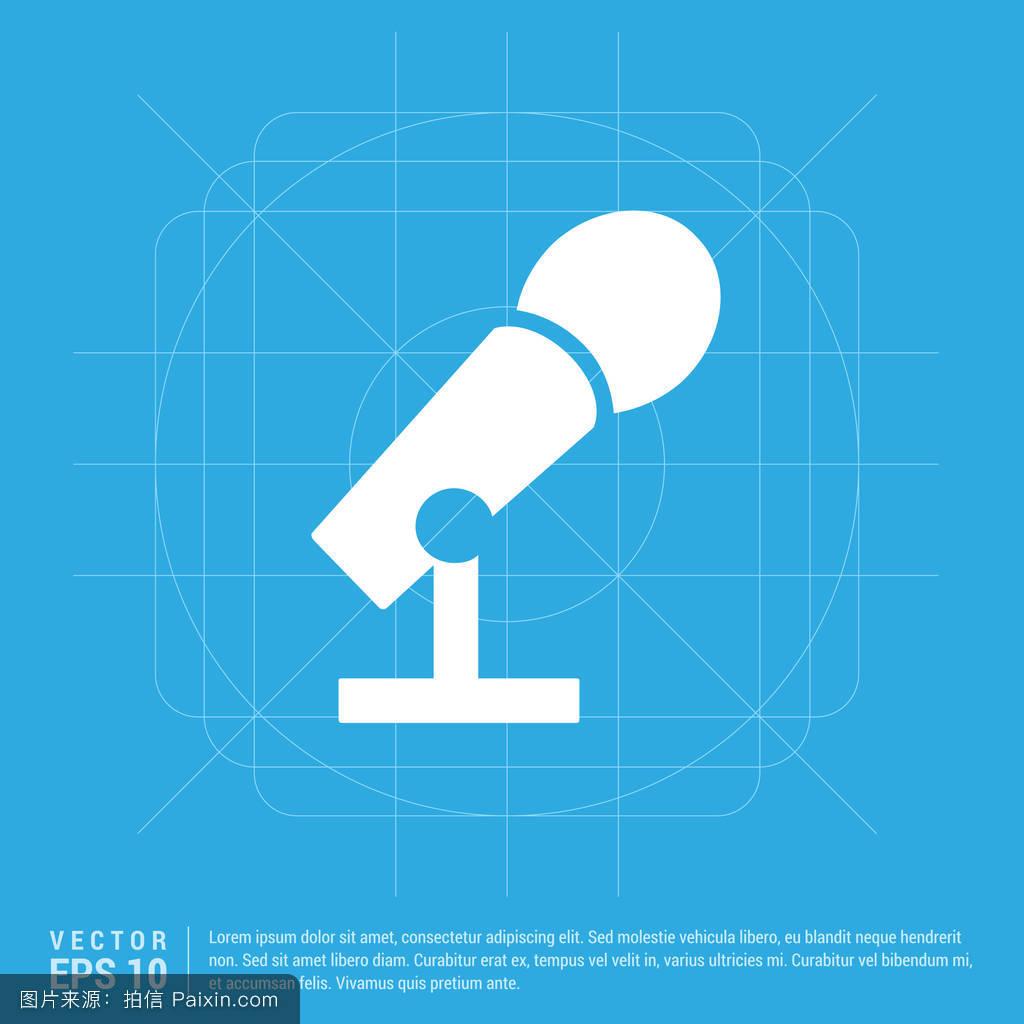 扬声器,dj,麦克风,标志,现代的,复古的,mic,钢琴,音频,平的,轮廓图片
