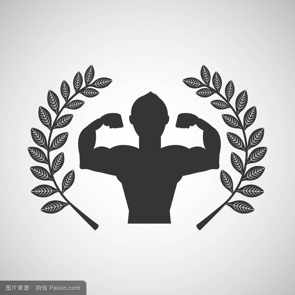 月桂枝_男子健美运动员运动会徽月桂枝