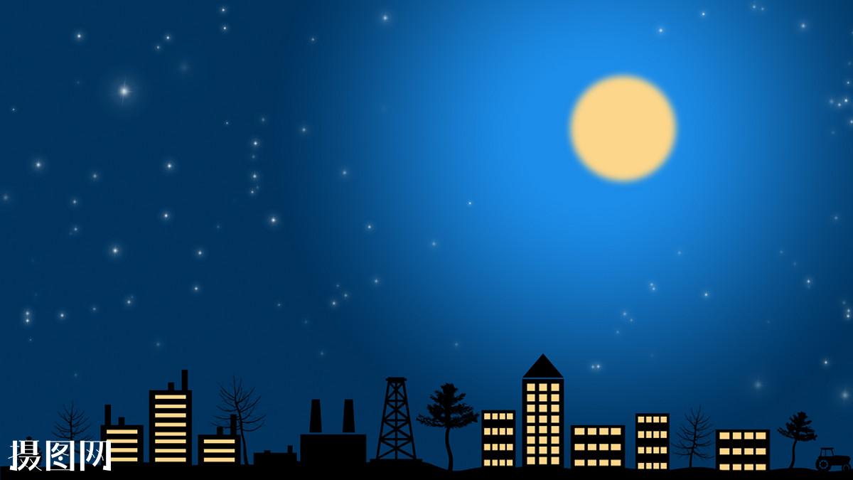 手绘,海报,插画,月亮,黑夜,天空,窗户,灯火,灯光,星星,建筑,城市,夜晚图片