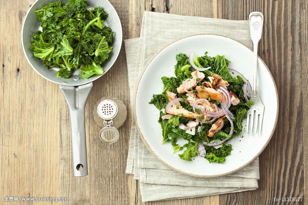 鲑肉菜,咸水鱼,开胃菜,海鱼,棚拍,俯视图,蔬菜,素菜,菜肴,蔬菜沙拉图片