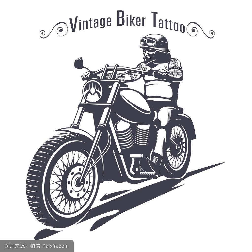 摩托车,要素,横幅,男人,标签,模板,素描,酿造的,插图,手,发动机,纹身