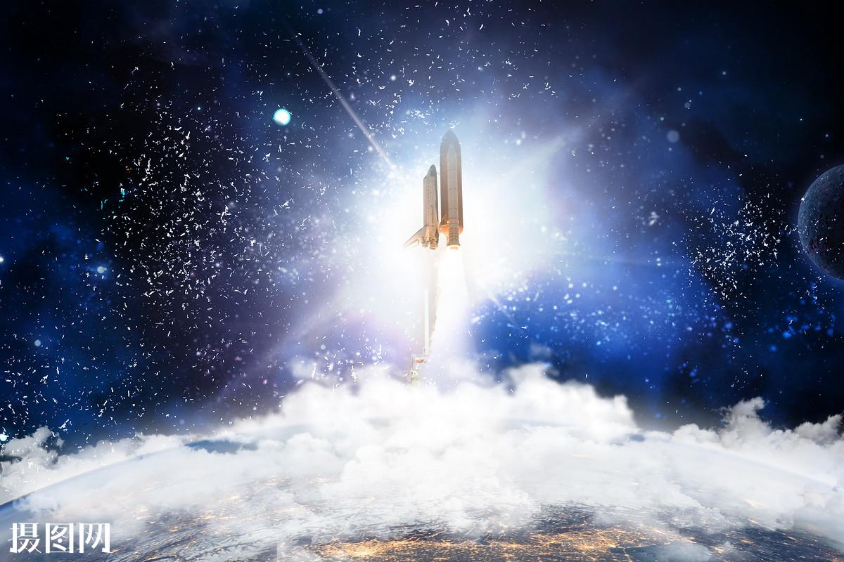 星空中发射的火箭图片