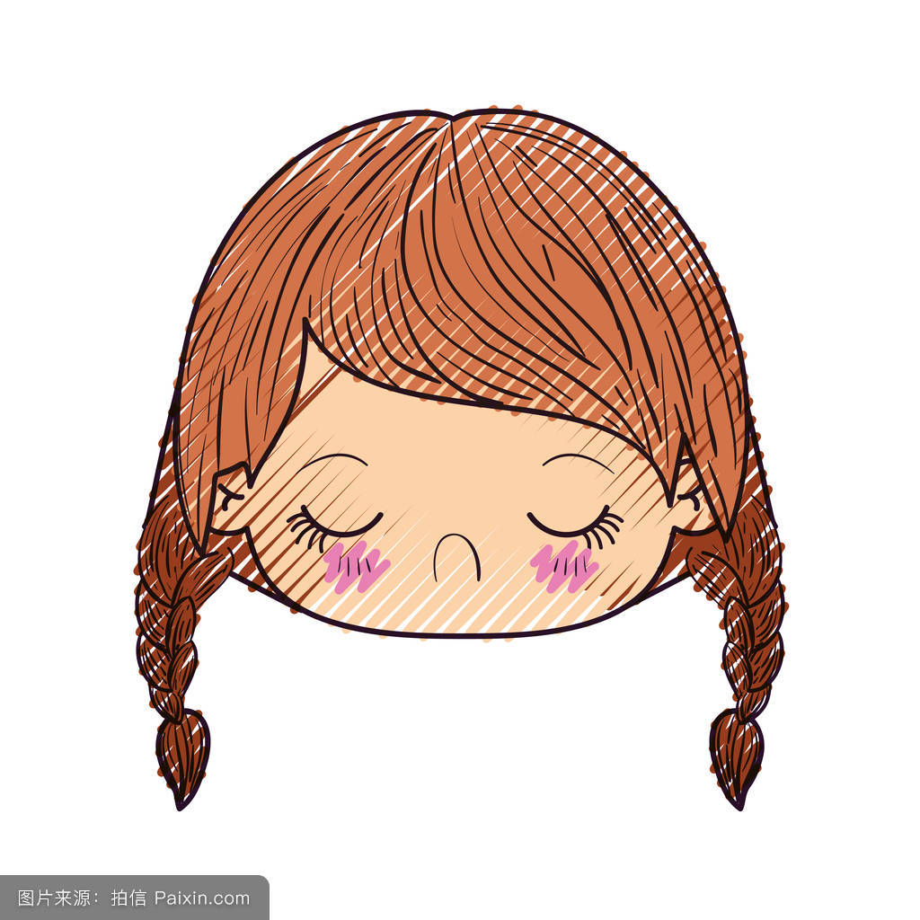 色粉笔轮廓的可爱的小女孩头辫头发和面部表情厌恶图片