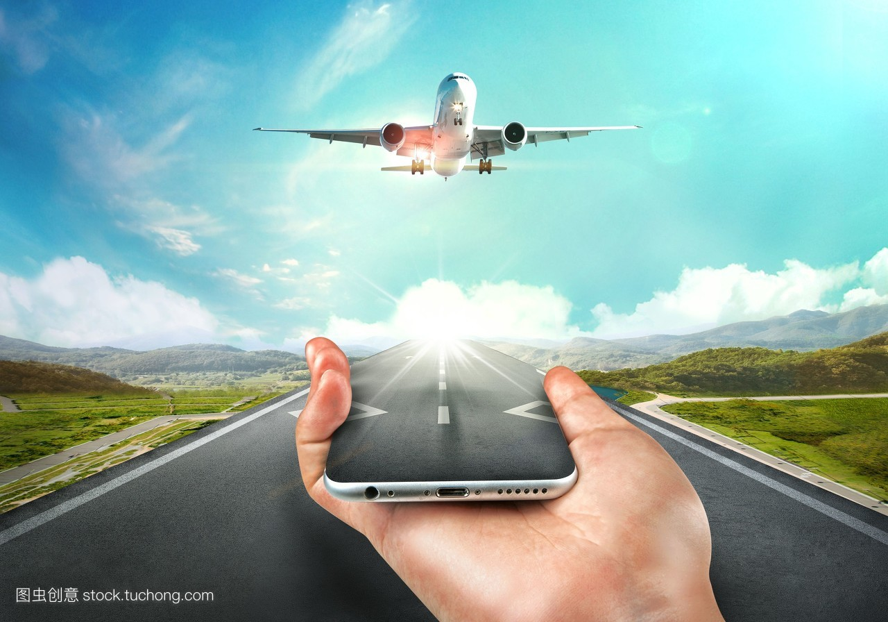 道路,打印,跑道,广告,飞机,绘图,沥青,云,海报,手,飞行,山,手机,印刷图片