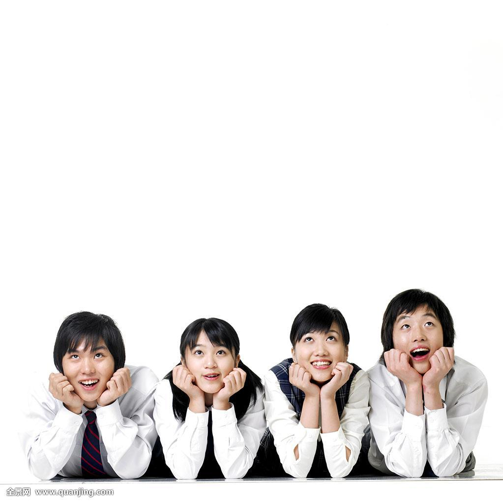 高中生,校服,男性,白色背景,亚洲人,人,思考,人群,女性,排列,正面图片