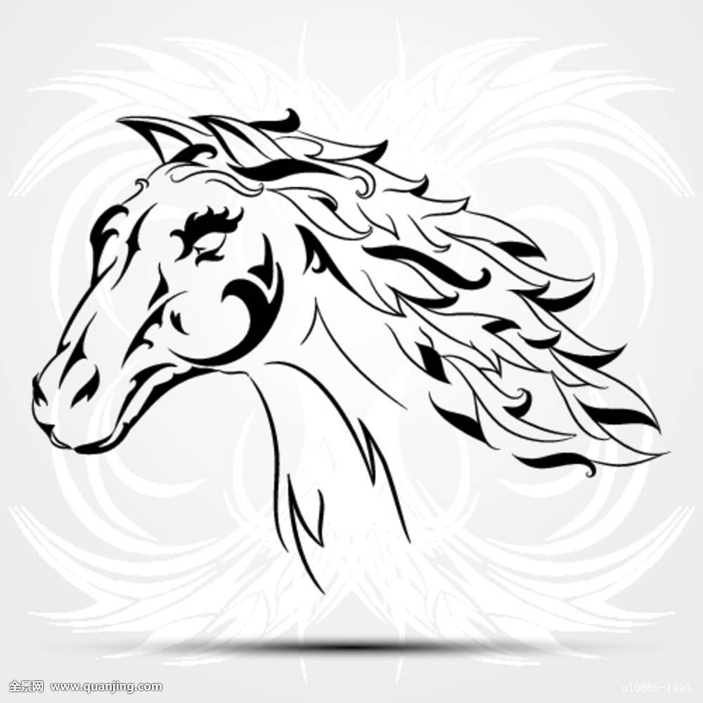 矢量,图像,马,白色背景,背景,部族,纹身图片