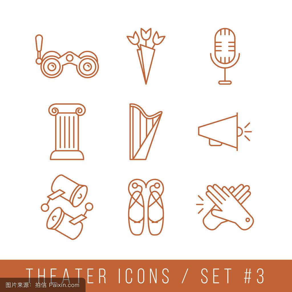 麦克风,标志,符号,平的,建筑学,概念,矢量,商业,线性的,图解的,音乐图片