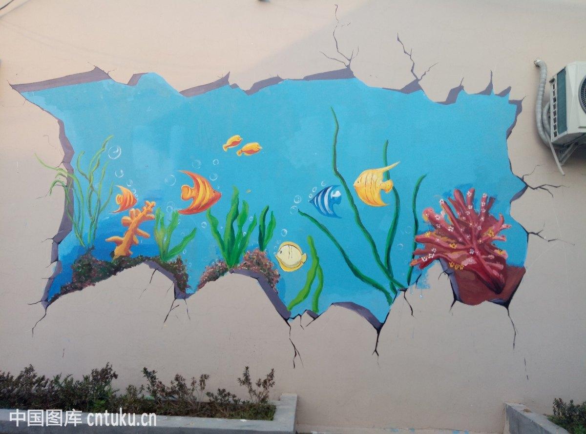 乡村,墙绘,日照,海洋,绘画图片
