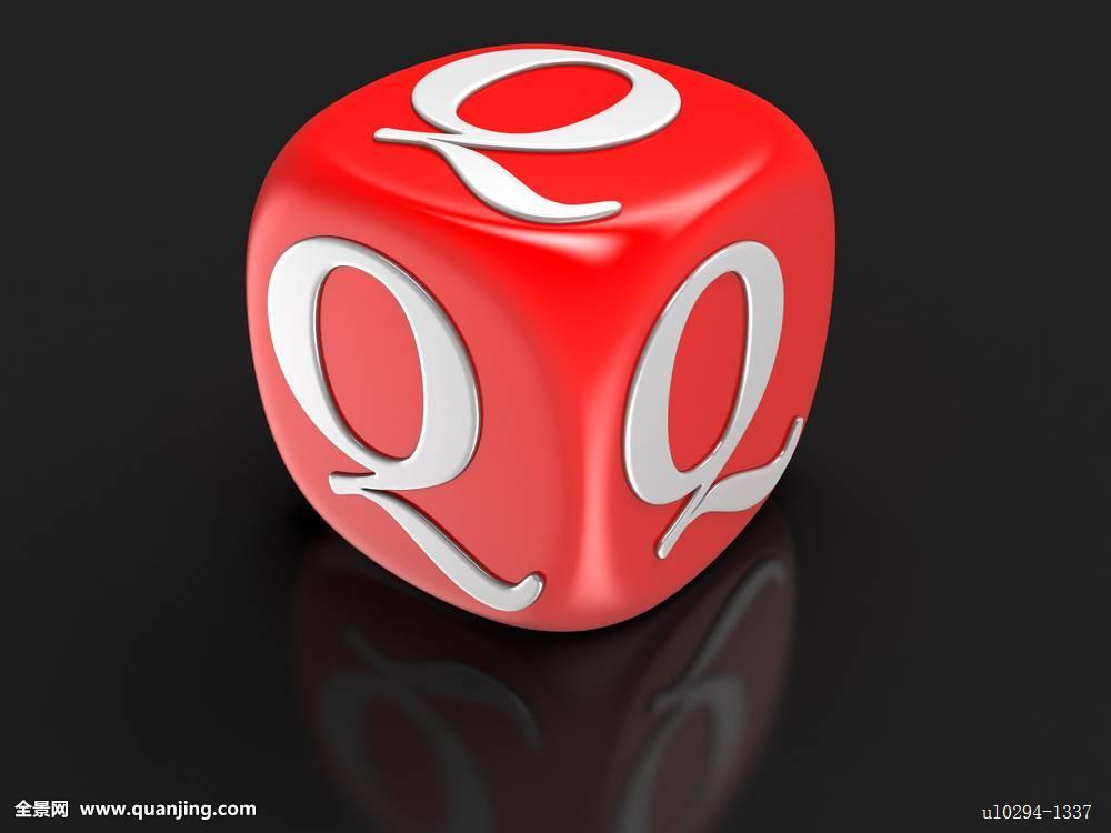 字母q骰子字母3d形状数码制图特写娱乐红色场标识象征