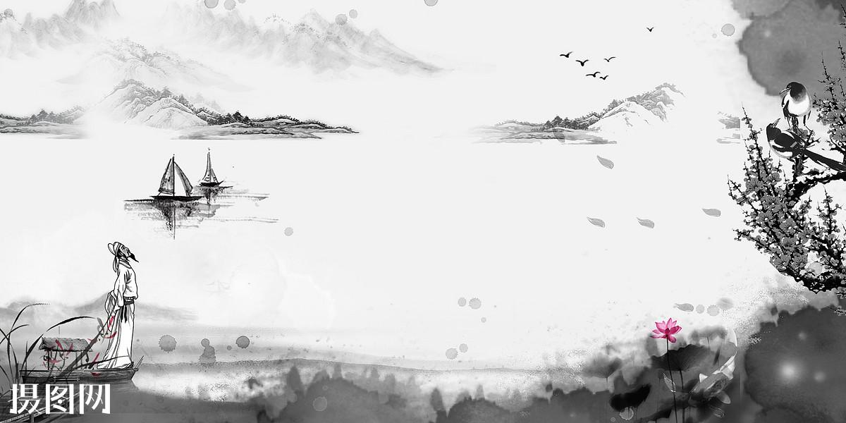 水墨画,背景,诗人,李白,花,黑白,飞鸟,树,山水画,创意,中国风,素材图片