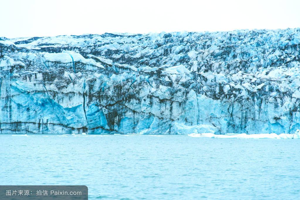 瓦特纳冰原,国家的,山,冰川,著名的,清楚的,laggon,湖,冻结,变暖,形成图片