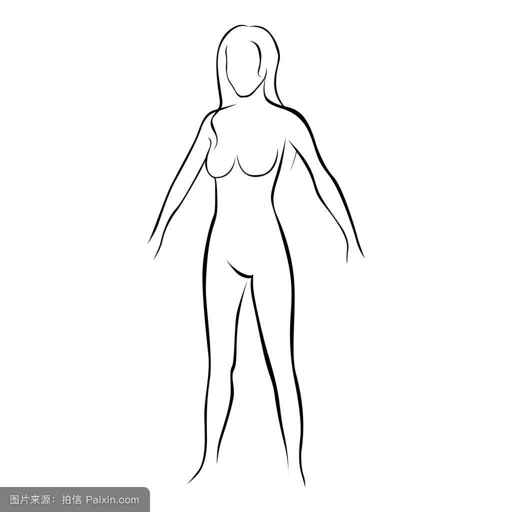 符号,美丽的,面对,线,健身,曲线,头发,概念,矢量,形状,淫荡,绘画,身体图片