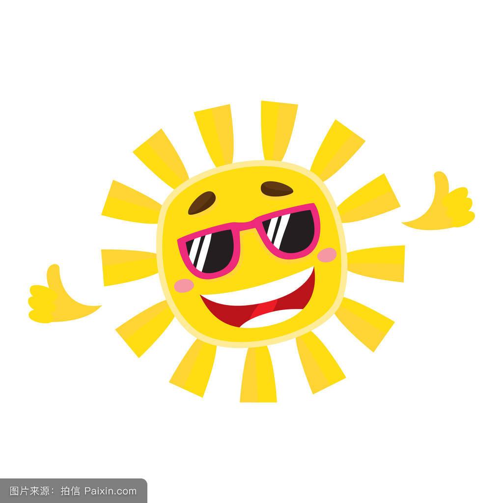 卡通,射线,假期,性格,符号,表情符号,签名,面对,阳光,夏天,晴朗的图片