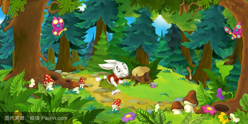 故事,丰富多彩的,传统的,家,好玩的,匆忙,兔子,云,漏洞,背景,树,土地图片
