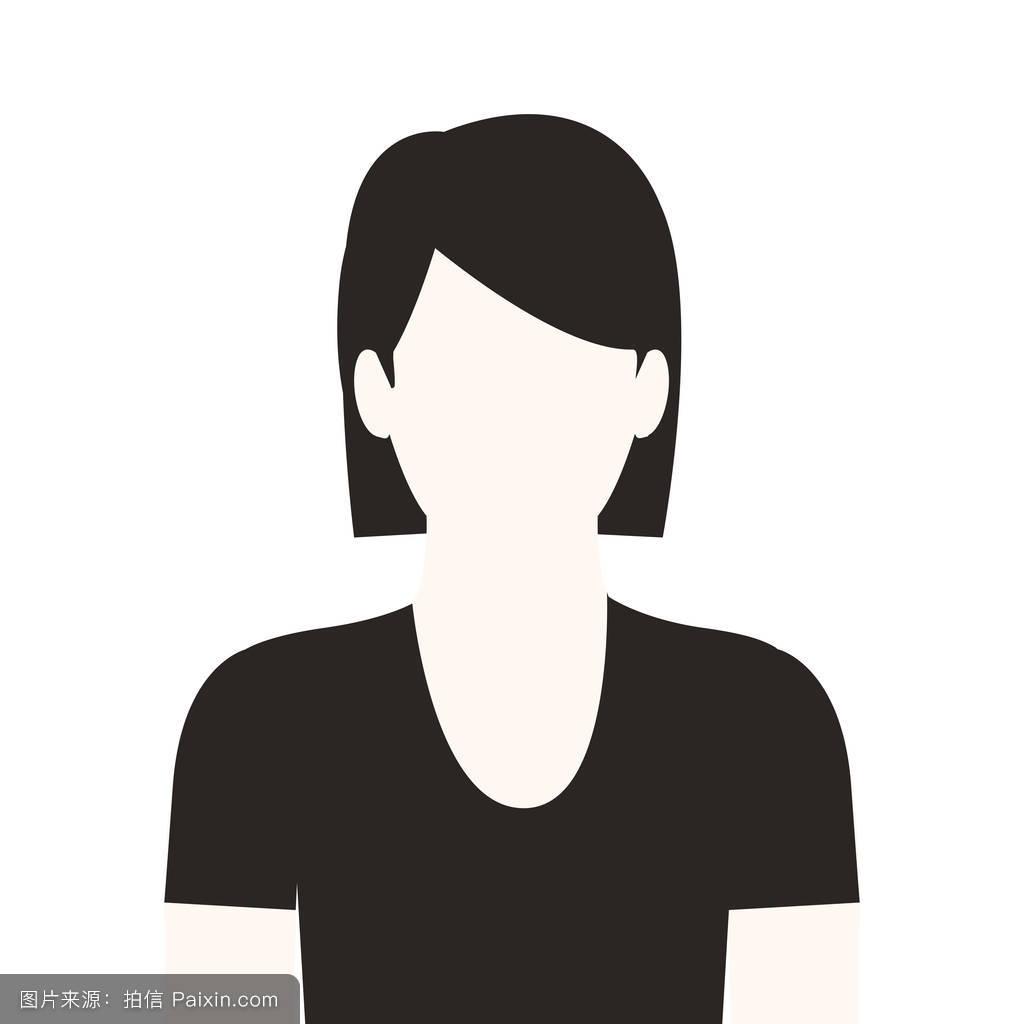 黑白无脸短发女性图片