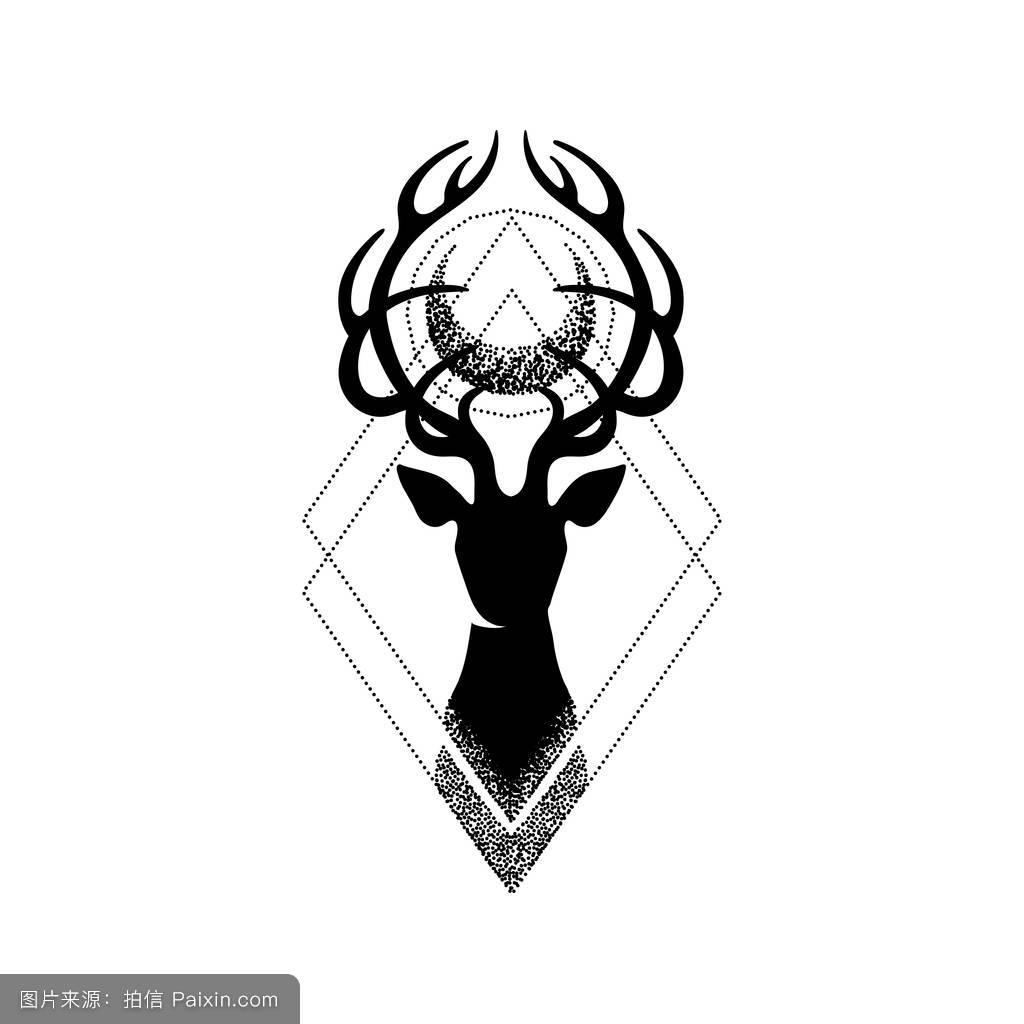 森林复古丽鹿纹身手稿分享展示图片