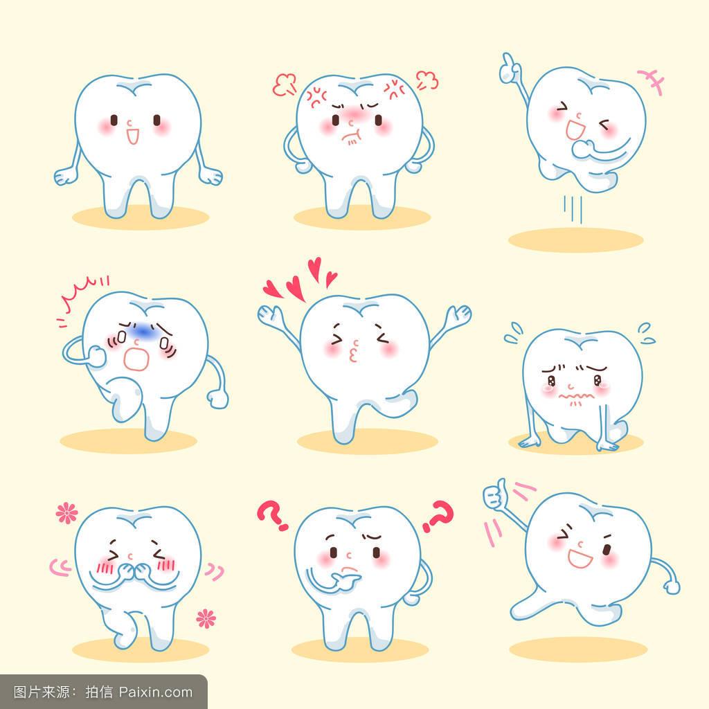 愤怒,卡通,害羞的,性格,表情符号,口腔医学,牙科,疾病,概念,清洁的图片