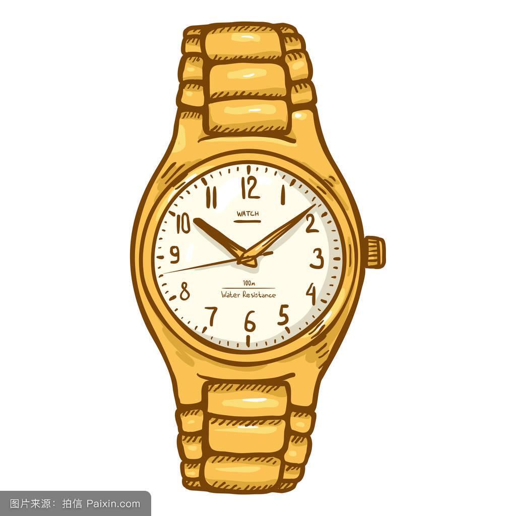 卡通,绘制,小时,数,符号,对象,拨号,钟面,人物,时间,定时器,手腕,铬图片