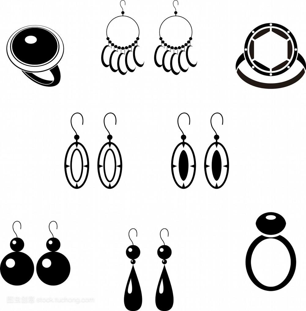 饰物,配件,附件,艺术,零件,图标,黑色,创意,装饰,耳饰,画画,雅致,设计图片