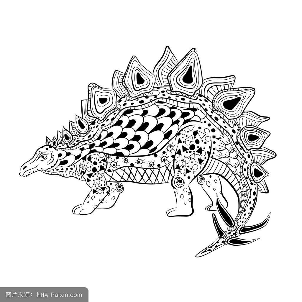 剑龙,灭绝,霸王龙,动物,三角龙,雷克斯,吓人的,插图,装饰,手,纹身图片图片