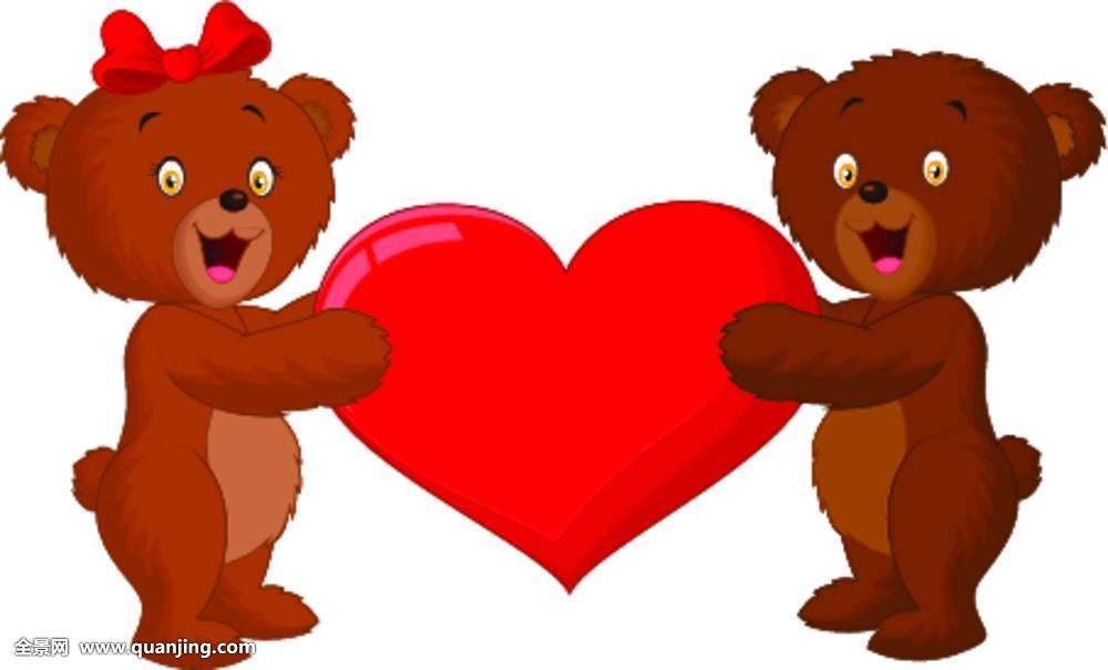 爱情,幼兽,可爱,团队,微笑,情感,插画,棕熊,站立,一起,喜悦,婚礼,心形图片