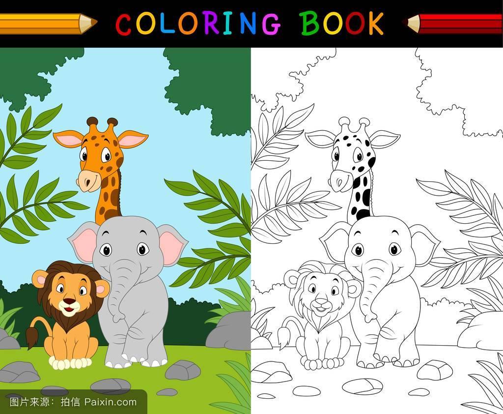 作业,自然,学生,活动,丛林,学校,幸福的,吉祥物,可爱的,着色,森林,页图片