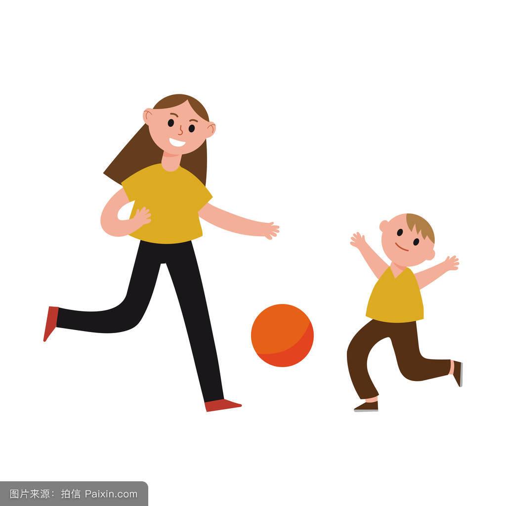 摸妈妈操妈妈�9l#�+_快乐妈妈陪儿子玩卡通人物,妈妈和孩子一起玩运动矢量插画