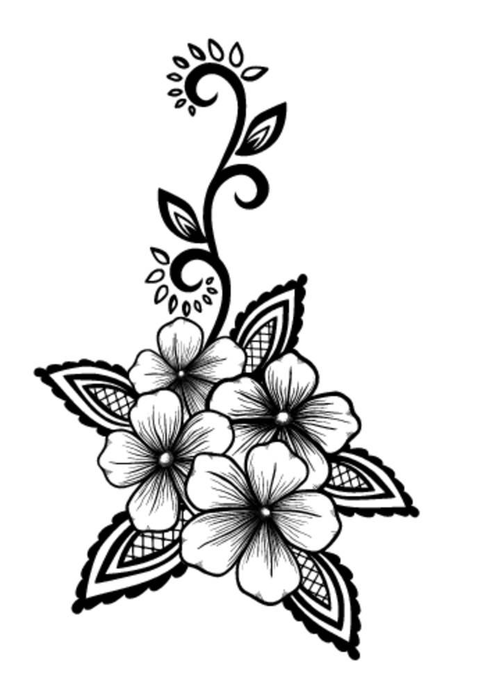纹身黑白花手稿分享展示图片