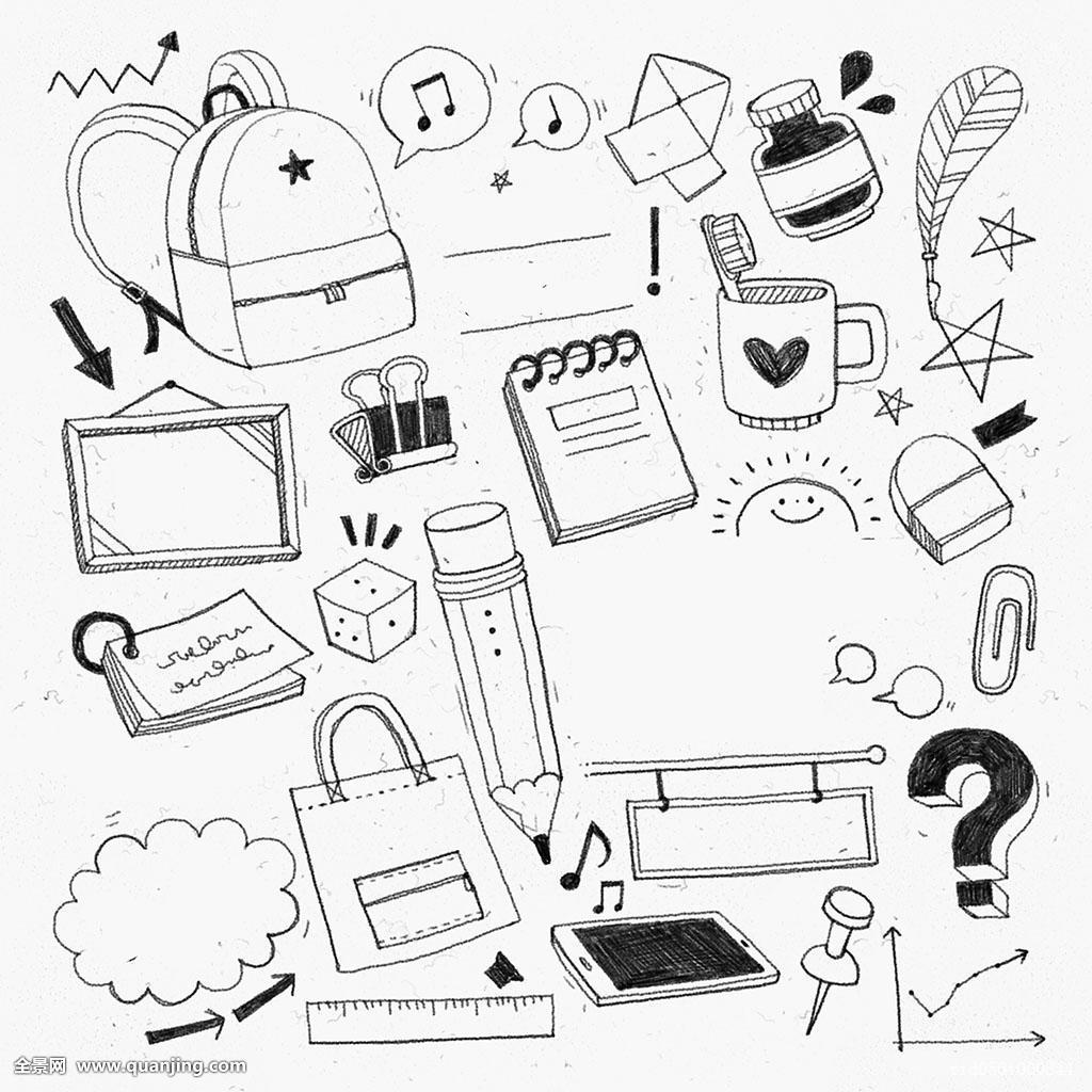 黑白,物体,学校,学习图片
