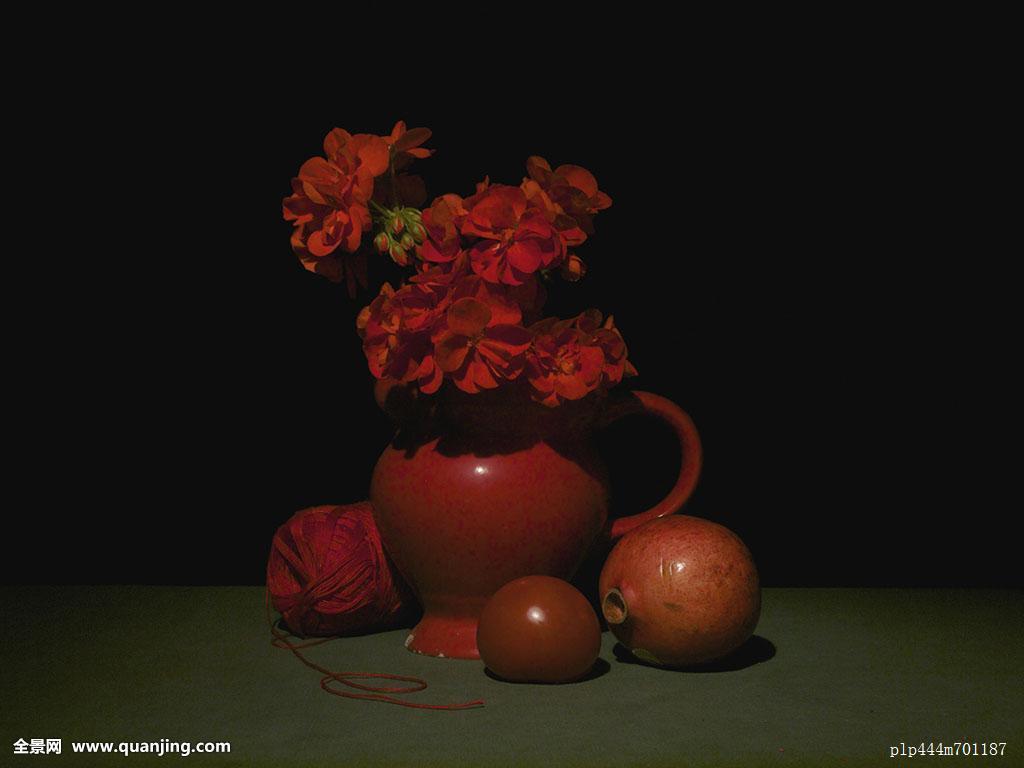 果蔬天竺葵郁室内神秘夜晚无人石榴红色影子静物奇怪棚